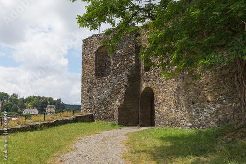 Deurstickers Rudnes Castle tower, Wehrturm Elsterberg, Burg Ruine