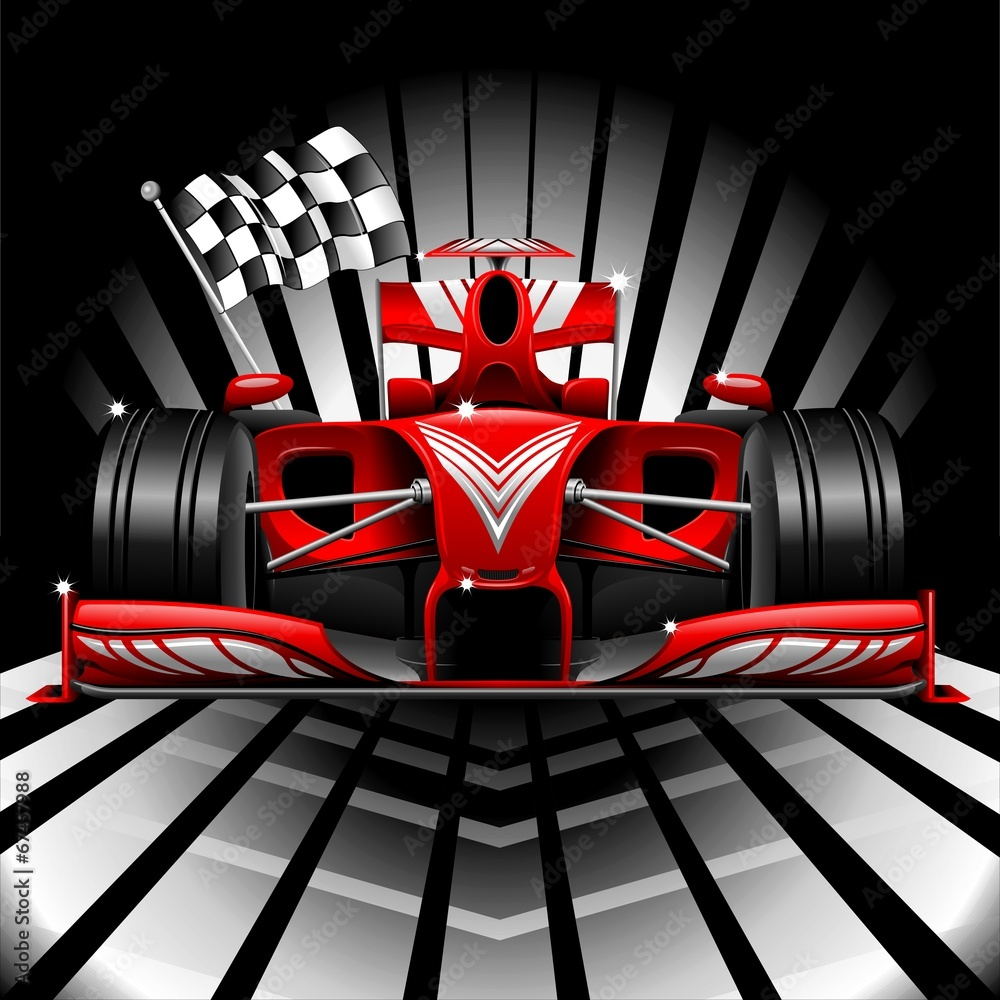 Fototapety, obrazy: Formula 1 Red Race Car and Chequered Flag