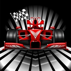 Fototapeta Formuła 1 Formula 1 Red Race Car and Chequered Flag