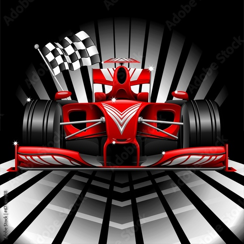 Formula 1 Red Race Car and Chequered Flag - 67457988