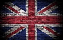 British Flag On A Grunge Brick Background.