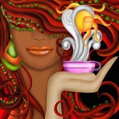 tazza di caffe fumante e viso di donna