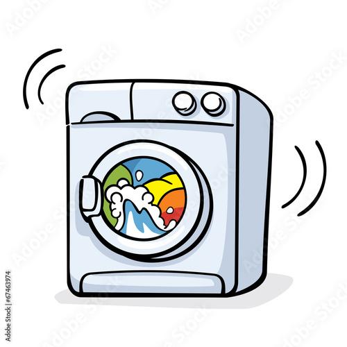 Fotografie, Obraz  vector illustration with washer machine working