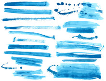 Watercolor Blue Ink Brush Stro...