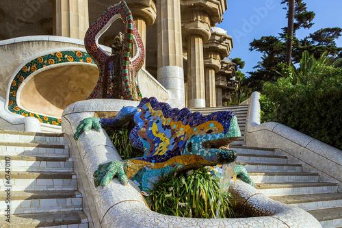 Papiers peints Barcelona ceramic dragon fountain at Parc Guell