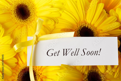 Get Well Soon card with yellow gerberas Tapéta, Fotótapéta