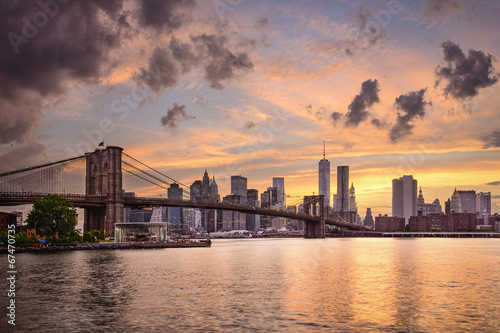 Spoed Fotobehang Brooklyn Bridge New York City Skyline
