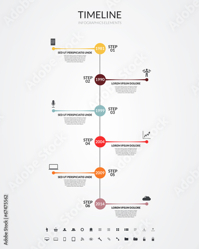 Photo  Timeline infographics, elements and icons. Vector