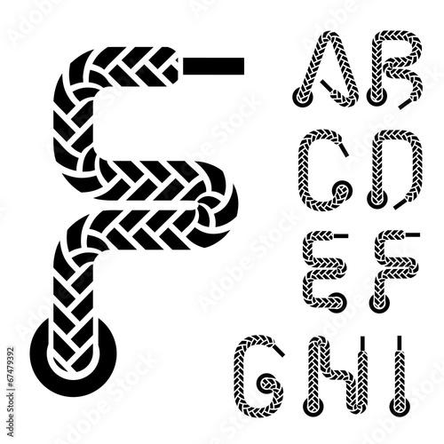 vector shoe lace alphabet letters part 1 Tableau sur Toile