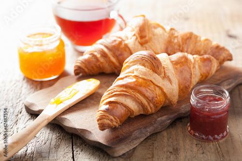 Fotografie, Obraz  fresh croissants with jam for breakfast