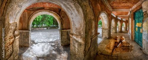 Своды арок старого речного вокзала Canvas Print