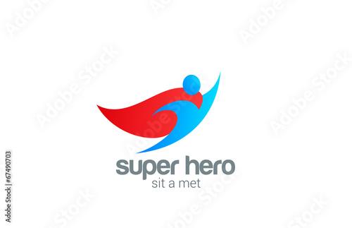 Fotografía  Super Hero abstract Flying Character vector logo design