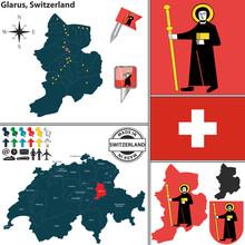 Map Of Glarus, Switzerland