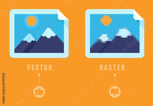 Valokuvatapetti Raster vs vector concept