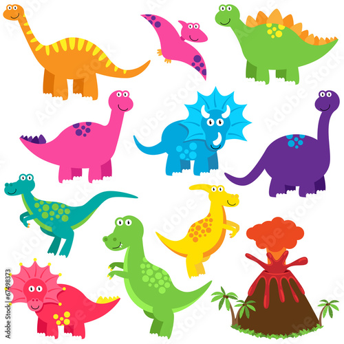 Photo  Vector Collection of Cute Cartoon Dinosaurs and a Volcano
