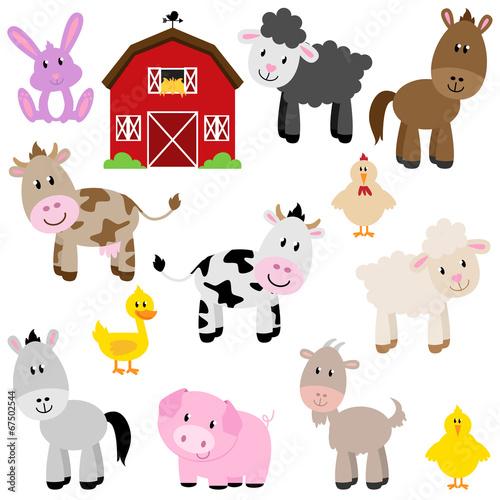 Vector Collection of Cute Cartoon Farm Animals and Barn #67502544