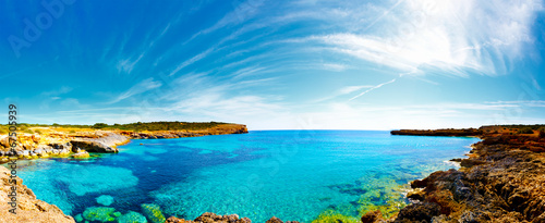 Fotografie, Obraz  Panorama of the bay with rocky shores, Mallorca, Spain