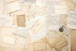 canvas print picture - old letters, handwritings and vintage postcards
