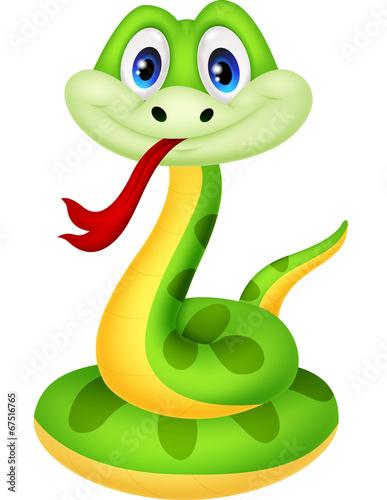 Fotografía  Cute green snake cartoon
