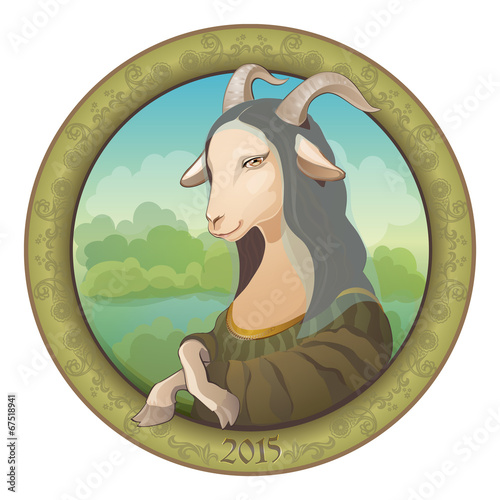 Fotografie, Obraz  Goat - Mona Lisa. Symbol New Year