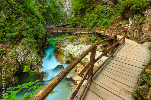 Fototapeta premium Drewniany most i zielona rzeka, wąwóz Vintgar, Słowenia, Europa