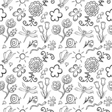 Insects And Flowers Seamless