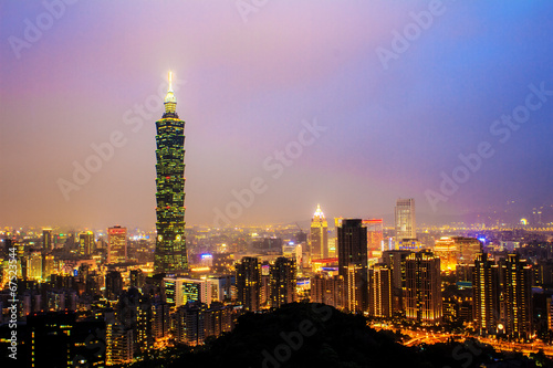Taipei's City Skyline at sunset with the famous Taipei 101 Poster