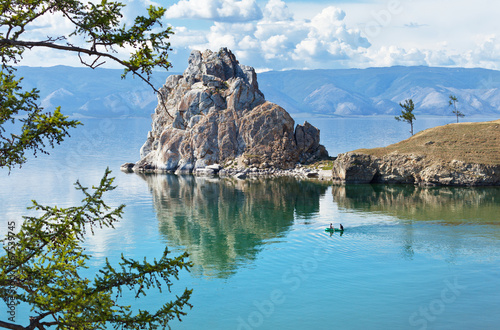 Summer on Lake Baikal. Shamanka rock Wallpaper Mural