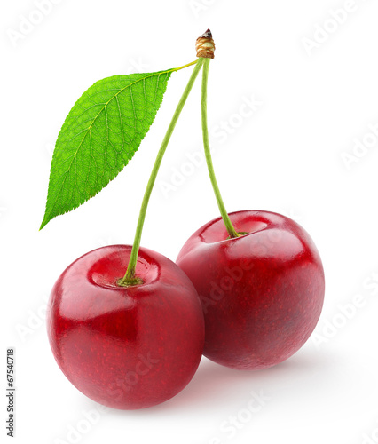 Leinwand Poster Isolated cherries