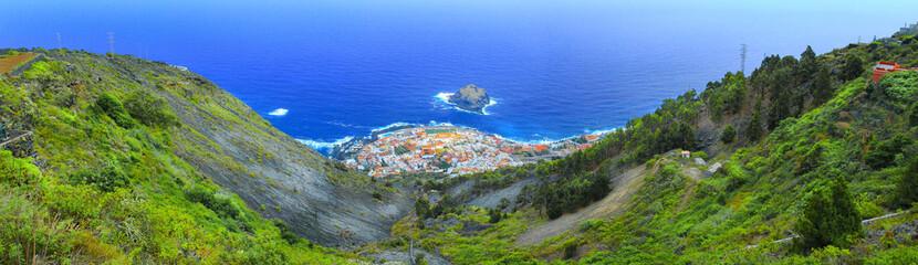 Panoramic view Garachico town on the coast of Tenerife