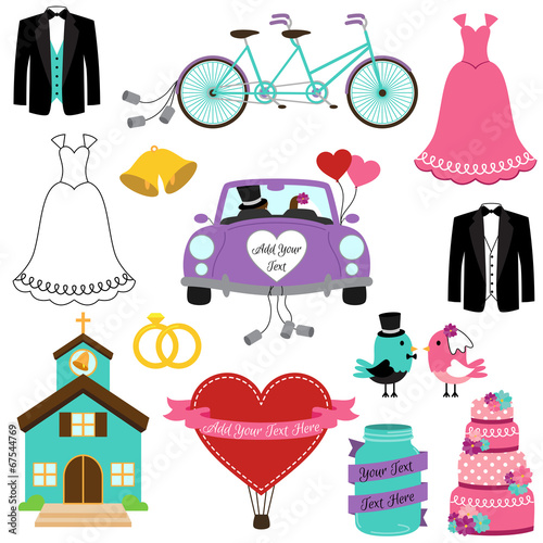 Deurstickers Uilen cartoon Wedding Themed Vector Set