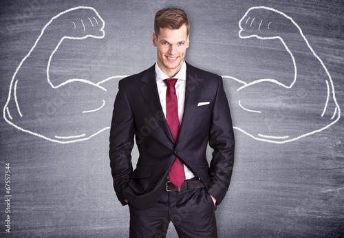 Fotografie, Obraz  Starker Geschäftsmann mit gemalten Muskeln