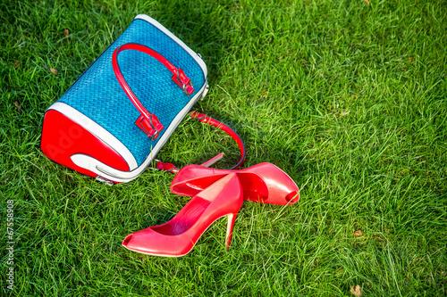 Stickers pour portes Pique-nique Shoes and women's handbag lay on the grass, women's shoes
