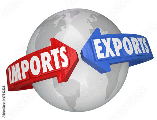 Valokuva  Imports Exports Arrows Around World Global International Busines