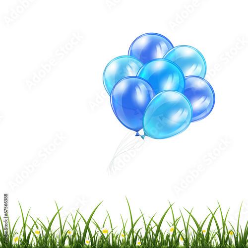 Foto op Plexiglas Groene Blue balloons and grass