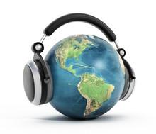 Headphones On Blue Globe