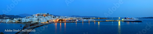 фотография Panorama of Chora at dusk, Naxos island, Cyclades archipelago, G