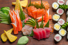 Down Top View Of Sushi Platter...