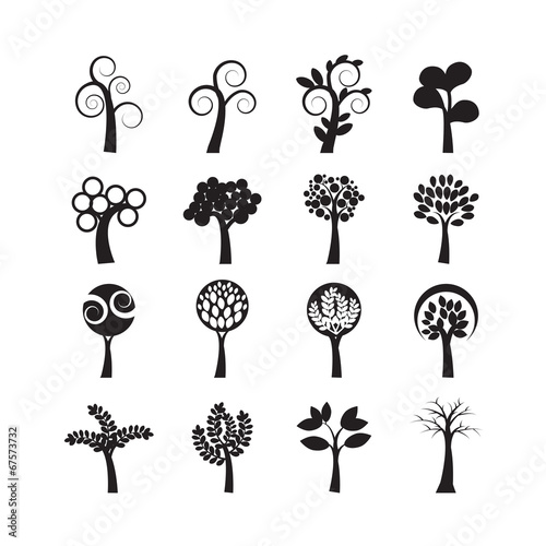 In de dag Abstractie Art abstract tree icon set, vector eps10