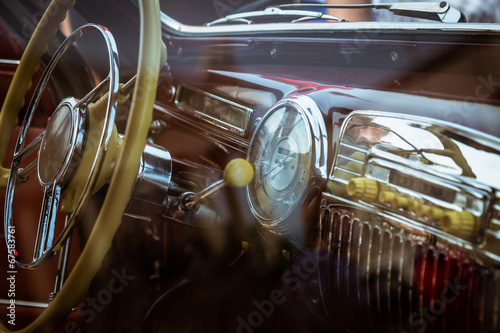 Interior of old retro car Wallpaper Mural