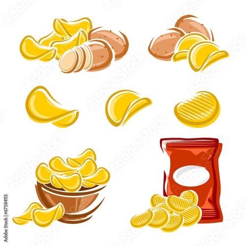 Fotografie, Obraz  Potato chips set. Vector