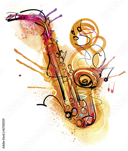 Fototapety One Color   watercolor-sax
