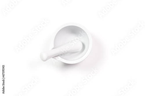 Fotomural white porcelain mortar and pestle set