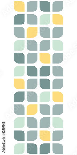 Fotografie, Obraz  Abstract gray yellow rounded squares vertical seamless pattern