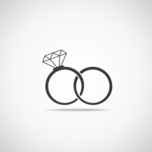 Wedding Rings Vector Icon. Wed...