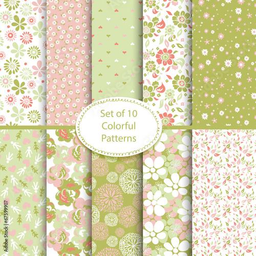 Foto auf AluDibond Boho-Stil Set of 10 seamless floral and hearts background