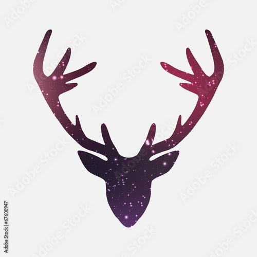 Head of deer, nebula and galaxy background