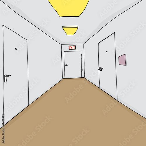 Fotografie, Tablou  Corridor with Closed Doors