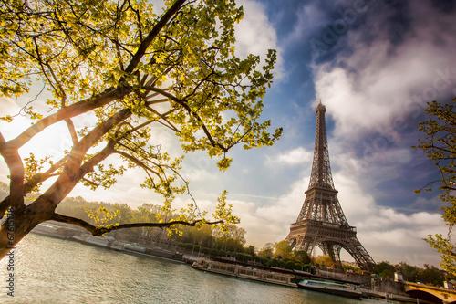 Printed kitchen splashbacks Eiffel Tower with boat on Seine in Paris, France