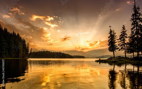 Canvas Prints Sunset Mountain lake at down
